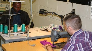 03_Students learn industrial cutting and sewing in a training program organized by a coalition of businesses and industry partners